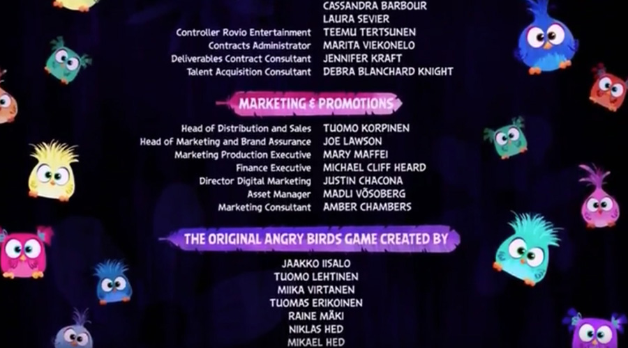 Angry Birds movie credits